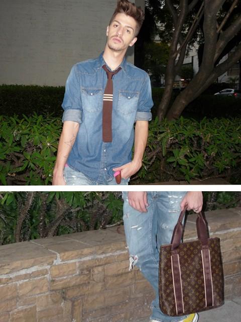 gravata e bolsa masculina