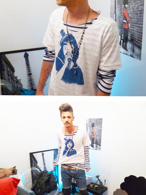 camiseta navy HM