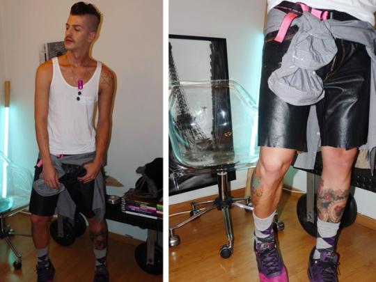 shorts de couro