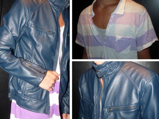 jaqueta couro azul