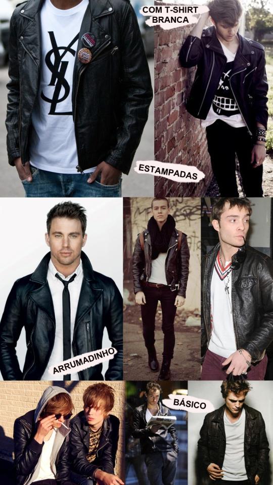 jaqueta de couro masculina