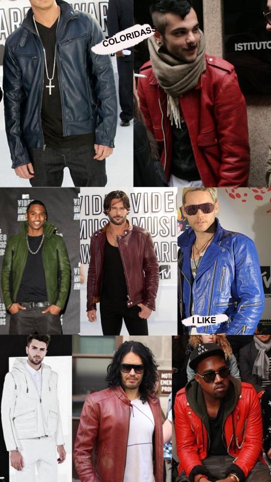jaqueta de couro colorida masculina