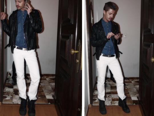 camisa jeans_jaqueta de couro